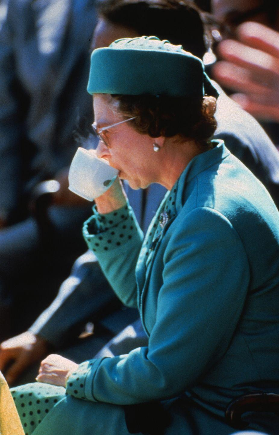 <p>Nothing gets between the British monarch and her cuppa.</p>