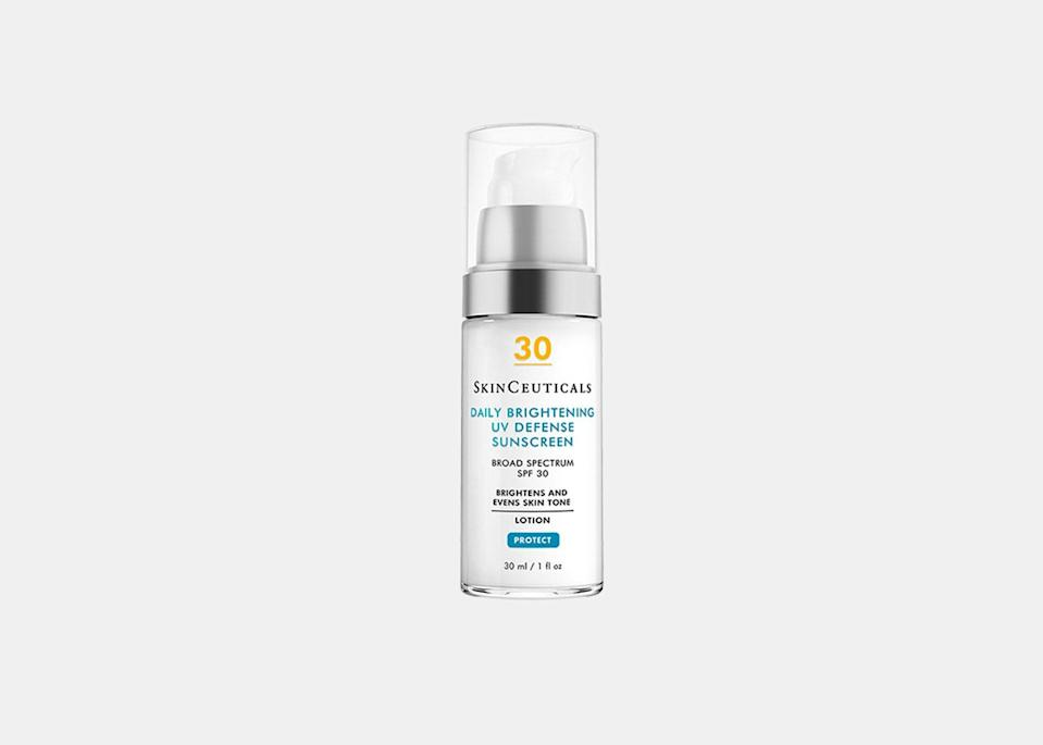 """SkinCeuticals' new Daily Brightening UV Defense Sunscreen with SPF 30 does not disappoint. It's hydrating like a moisturizer and blends in without leaving any white cast, leaving skin looking brighter and even with just the right amount of a summer glow. Consider this your new go-to sunscreen for no-makeup days <a href=""""https://www.cntraveler.com/gallery/beach-day-accessories?mbid=synd_yahoo_rss"""" rel=""""nofollow noopener"""" target=""""_blank"""" data-ylk=""""slk:by the beach"""" class=""""link rapid-noclick-resp"""">by the beach</a>. It's formulated to protect against UV-induced pigmentation, too, preventing skin discoloration and visible sun damage. $54, SkinCeuticals. <a href=""""https://www.skinceuticals.com/daily-brightening-uv-defense-sunscreen-spf-30-3606000578579.html"""" rel=""""nofollow noopener"""" target=""""_blank"""" data-ylk=""""slk:Get it now!"""" class=""""link rapid-noclick-resp"""">Get it now!</a>"""