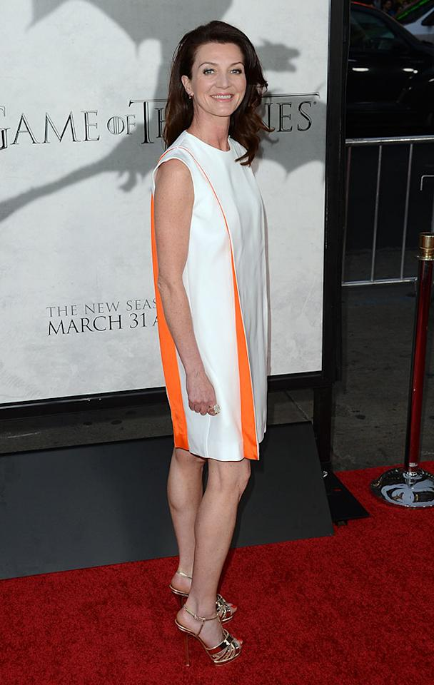 "Michelle Fairley arrives at the premiere of HBO's ""Game of Thrones"" Season 3 at TCL Chinese Theatre on March 18, 2013 in Hollywood, California."