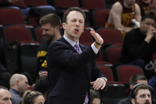 Minnesota head coach Richard Pitino directs his team during the first half of an NCAA college basketball game against the Penn State in the second round of the Big Ten Conference tournament, Thursday, March 14, 2019, in Chicago. (AP Photo/Nam Y. Huh)