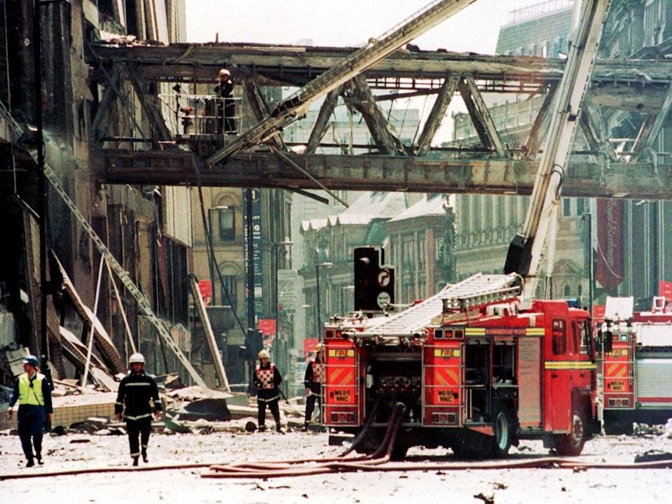 More than 700 buildings were damaged in total. Marks and Spencer and the west face of the Arndale were more or less destroyed entirely (PA)
