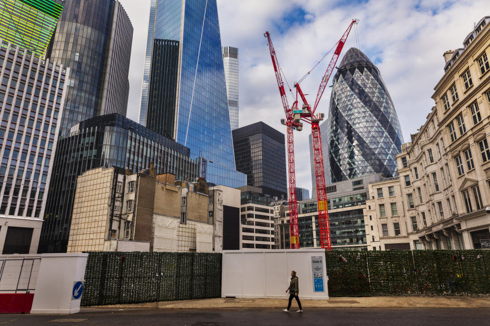 View of the Leadenhall Building and the Gherkin soaring over a new developments on Fenchurch Street in London, United Kingdom. Photo: Barry Lewis/In Pictures via Getty Images