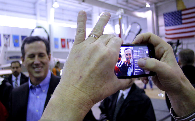 Republican presidential candidate, former Pennsylvania Sen. Rick Santorum is photographed during a rally at Battleship Memorial Park, Friday, March 9, 2012, in Mobile, Alabama. (AP Photo/Eric Gay)