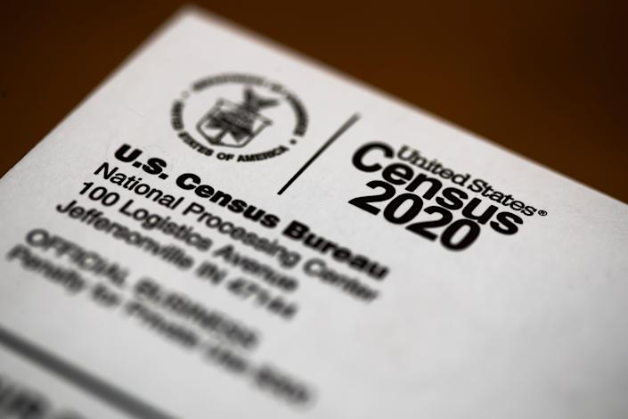 This March 19, 2020, file photo, shows an envelope containing a 2020 census letter mailed to a U.S. resident.