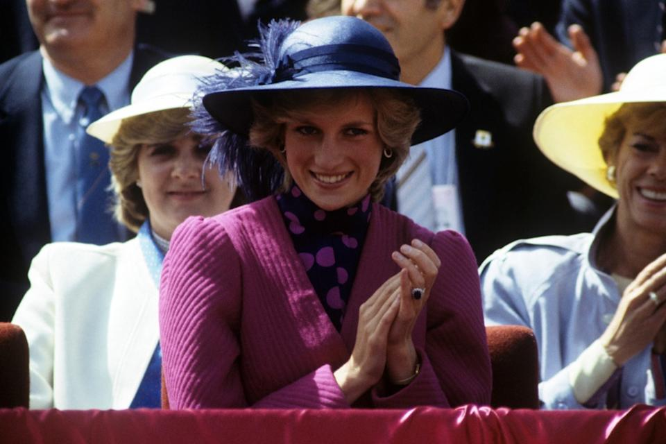 princess diana wearing hat and engagement ring