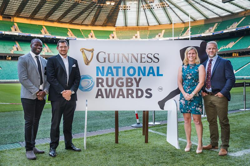 Topsy Ojo, Alex Goode, Danielle Waterman and Ollie Phillips at the Guinness National Rugby Awards