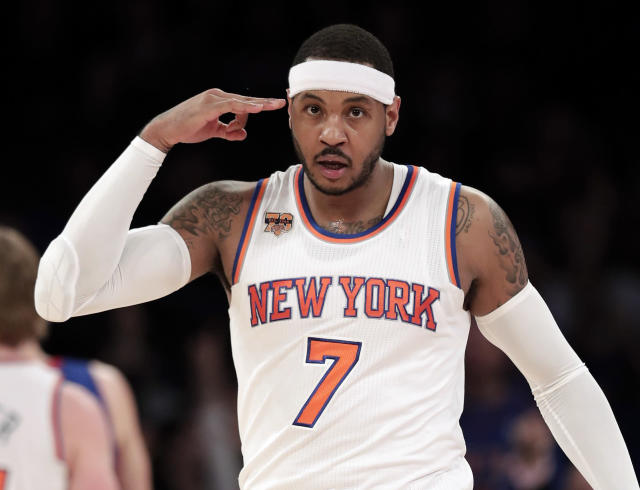 Carmelo Anthony, Knicks savior? Probably not. (AP Photo/Julie Jacobson, File)