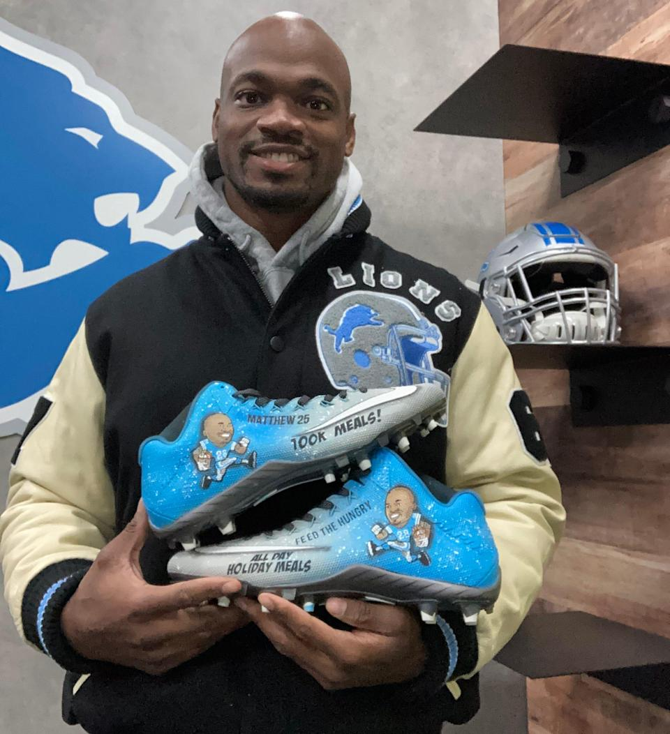 Detroit Lions running back Adrian Peterson will wear a special pair of cleats during the Thanksgiving Day game highlighting his 100,000 meals effort and decorated with his one of his favorite Bible verses, Matthew 25:35-40.