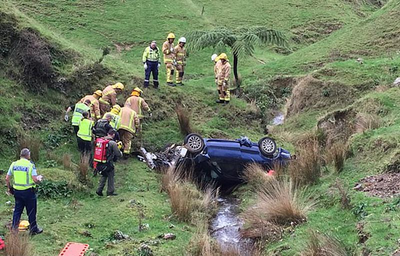 Kerry Jordan's car pictured after rolling down a gully near the Pahiatua track. Source: Philips Search and Rescue Trust