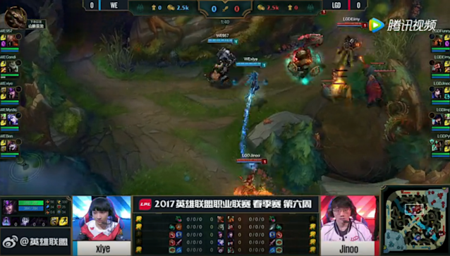 Team WE's top and mid contest enemy raptors while Condi farms his own jungle (lolesports)