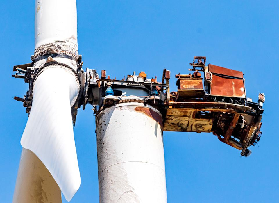 A burnt-out nacelle tops a wind turbine tower at the KODE Novus I and II wind facility southeast of Guymon in Oklahoma's Panhandle.