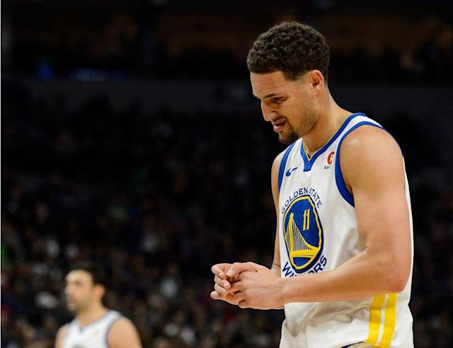 """<p>Giving Klay Thompson his proper due requires a concerted effort.</p><p>In Golden State, he's overshadowed by bigger names and eclipsed by larger personalities, but he also rarely lags in effort and he's almost never missing in action. Thompson is easy to sell short because virtually every guard in the league would shrink, relatively, if playing alongside Stephen Curry, and because he's been so consistent and healthy that the Warriors have never truly been forced to cope with his absence.</p><p>Indeed, Golden State's least-celebrated All-Star has doubled as the organization's most dependable core piece: Thompson has missed just 13 total games over his seven-year career, for a 97.6% availability rate, and he's never missed a playoff game over five years and three straight Finals runs. While Thompson has had his share of highs (2016 West finals Game 6, a 60–point explosion) and lows (a 2017 postseason slump), his extraordinarily durability and his high-energy, two-way game render him as a steadying influence. There's an admirable handyman nature to Thompson: Steve Kerr can turn to him for help if Curry or Kevin Durant is sidelined, but the sharpshooter is there to fill in the gaps when his superteammates are healthy too.</p><p>Wednesday's news that <a href=""""https://www.si.com/nba/video/2018/03/14/klay-thompson-golden-state-warriors-injury-thumb-miss-two-weeks-nba"""" rel=""""nofollow noopener"""" target=""""_blank"""" data-ylk=""""slk:Thompson will miss at least a week"""" class=""""link rapid-noclick-resp"""">Thompson will miss at least a week</a> with a fractured right thumb, then, counts as unchartered water for the defending champions. Over the past seven seasons, Golden State has never been without Thompson for more than three games, and his upcoming absence coincides with the latest in a string of <a href=""""https://www.si.com/nba/2018/03/13/warriors-stephen-curry-injury-updates"""" rel=""""nofollow noopener"""" target=""""_blank"""" data-ylk=""""slk:ankle injuries for Curry"""" class=""""link rapid-noclick-resp"""