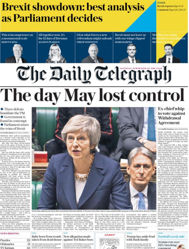 The paper said Mrs May faced defeat on a historic scale (The Daily Telegraph)