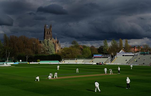 WORCESTER, ENGLAND - APRIL 26: A general view of the storm clouds hovering as play continues in the spring sunshine at New Road during day one of the LV County Championship match between Worcestershire and Nottinghamshire at New Road on April 26, 2012 in Worcester, England. (Photo by Stu Forster/Getty Images) *** BESTPIX ***