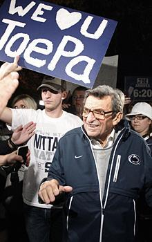 Students also gathered at Joe Paterno's home with messages of support for the coach