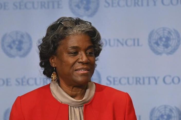 New US Ambassador to the United Nations, Linda Thomas-Greenfield speaks after meeting with UN Secretary-General Antonio Guterres at the United Nations on February 25, 2021 in New York City. (Angela Weiss Pool Photo via AP)