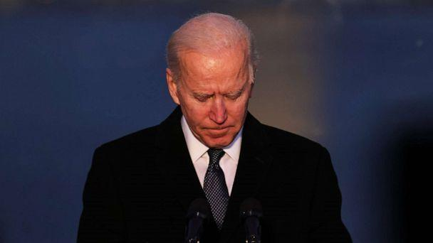 PHOTO: President-elect Joe Biden pauses as he speaks at a memorial for victims of the COVID-19 pandemic at the Lincoln Memorial on the eve of the presidential inauguration on Jan. 19, 2021, in Washington, D.C. (Michael M. Santiago/Getty Images)