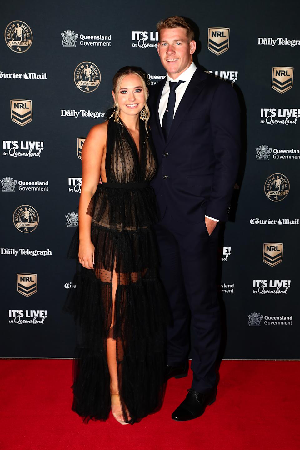 Dally M red carpet Matt Burton of the Panthers and his partner Zoe Warwick