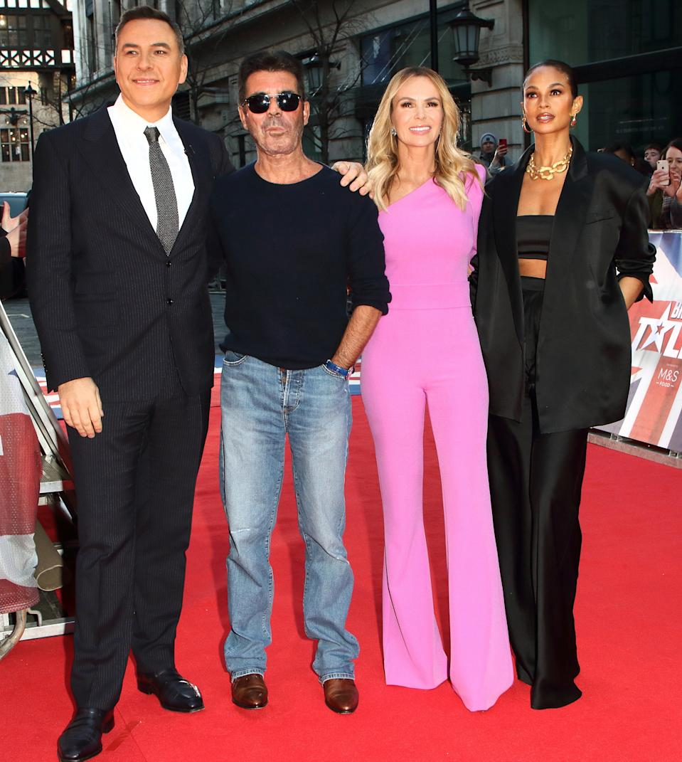 David Walliams Simon Cowell, Alesha Dixon and Amanda Holden attend the Britain's Got Talent Auditions Photocall at the London Palladium. (Photo by Keith Mayhew / SOPA Images/Sipa USA)