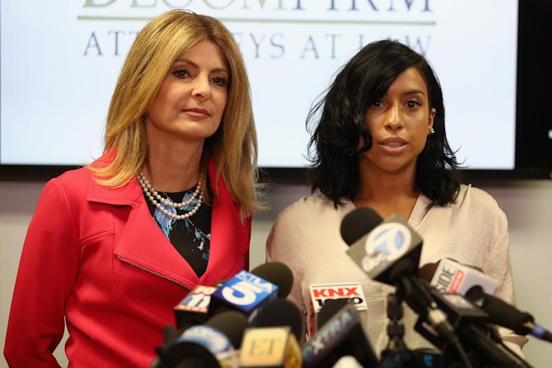 Lisa Bloom, left, lawyer for Montia Sabbag, alleges an attack on her client's character after accusations that Sabbag attempted to extort comedian Kevin Hart.