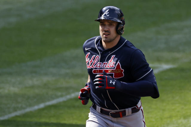 Atlanta Braves' Adam Duvall rounds the bases after hitting a solo home run against the New York Mets during the second inning of a baseball game Saturday, July 25, 2020, in New York. (AP Photo/Adam Hunger)
