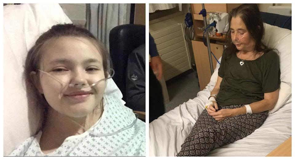 Erin at her biopsy in 2020 (left) and Nicky in hospital in September 2019 shortly before her diagnosis (right) (PA)