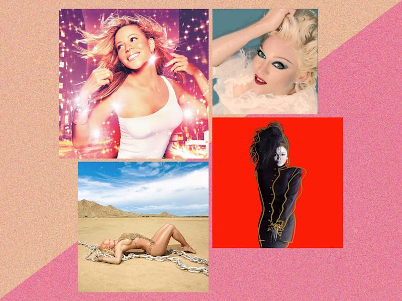 Lost greats, clockwise from top left: Mariah Carey's 'Glitter', Madonna's 'Bedtime Stories', Janet Jackson's 'Control' and Britney Spears' 'Glory': Virgin/RCA/Maverick/A&M Records
