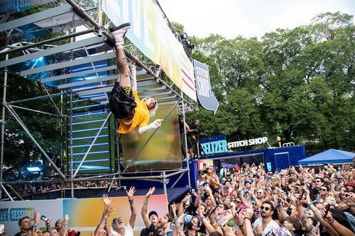 Machine Gun Kelly performs a surprise set on the Bud Light Seltzer Sessions stage on Day 3 of the Lollapalooza Music Festival on Saturday, July 31, 2021, at Grant Park in Chicago.