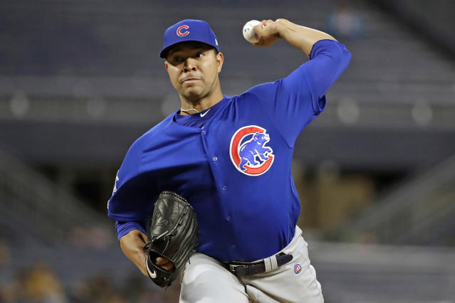 FILE - In this Thursday, Sept. 26, 2019 file photo, Chicago Cubs starting pitcher Jose Quintana delivers during the first inning of the team's baseball game against the Pittsburgh Pirates in Pittsburgh. Chicago Cubs left-hander Jos Quintana had surgery to repair nerve damage in his pitching thumb Thursday, July 2, 2020 after he cut himself washing dishes and is out indefinitely. (AP Photo/Gene J. Puskar, File)