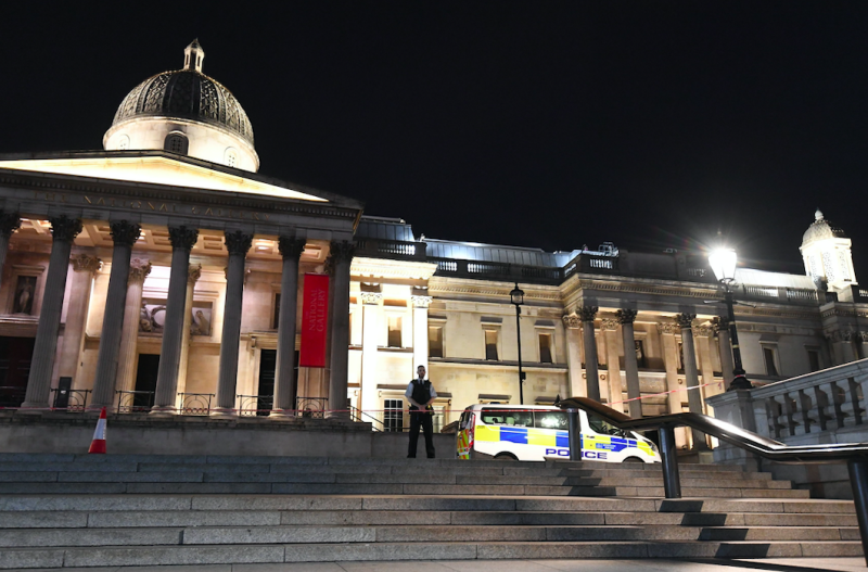 Police are hunting for a suspect after a man was stabbed in Trafalgar Square (PA)