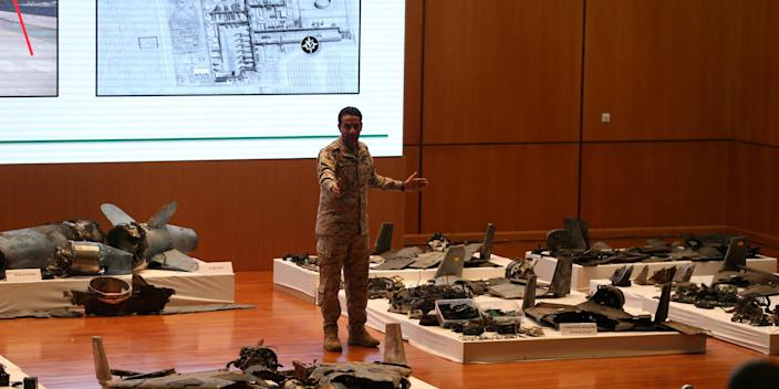 Saudi defence ministry spokesman Colonel Turki Al-Malik displays remains of the missiles which Saudi government says were used to attack an Aramco oil facility, during a news conference in Riyadh, Saudi Arabia September 18, 2019