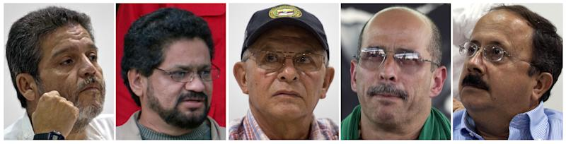 FILE - In this combo image of file photos shows the five main negotiators representing the Revolutionary Armed Forces of Colombia, FARC, in the peace talks with the Colombian government, from left: in a Sept. 4, 2012 file photo Marco Leon Calarca; in a Nov. 8, 2007 file photo Ivan Marquez; in a Sept. 4, 2012 file photo Ricardo Tellez; in a Jan. 13, 2002 file photo Simon Trinidad; and in a Sept. 4, 2012 file photo Andres Paris. The faces and names of the negotiators for Colombia's main leftist rebel movement, who open peace talks with government on Monday in Norway, are largely unfamiliar to their countrymen. (AP Photo/Files)