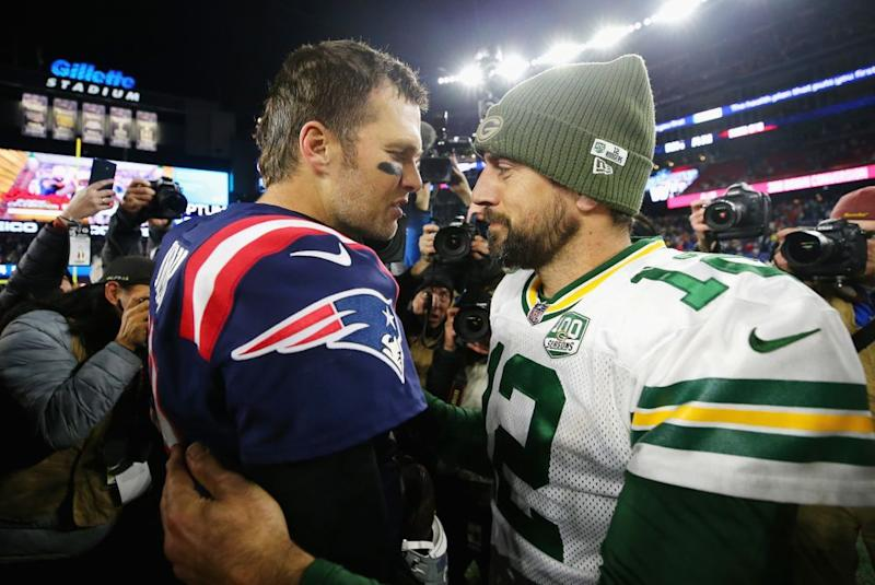Tom Brady and Aaron Rodgers | Maddie Meyer/Getty