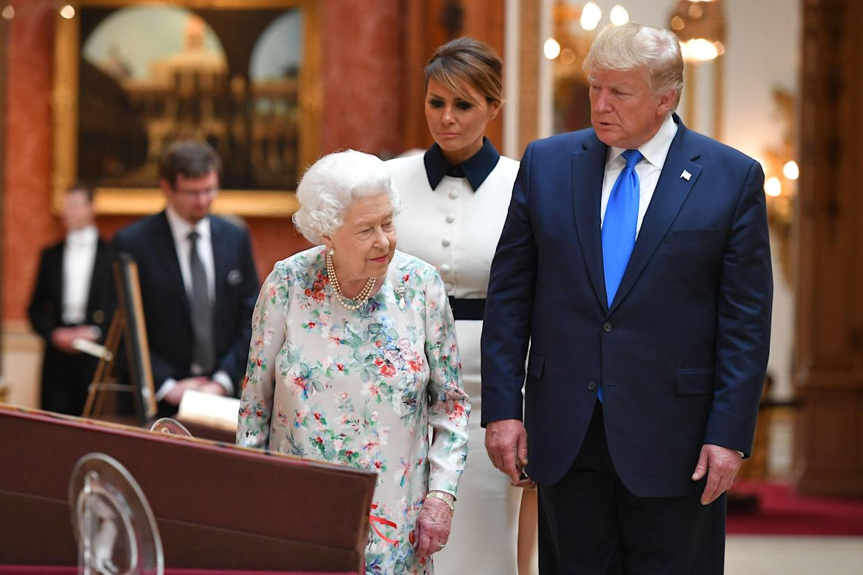 US president Donald Trump and his wife Melania meet Queen Elizabeth at Buckingham Palace. Photo: MANDEL NGAN/AFP/Getty Images