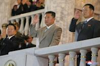 North Korean leader Kim Jong Un appeared before a cheering crowd at the parade in Pyongyang (AFP/STR)