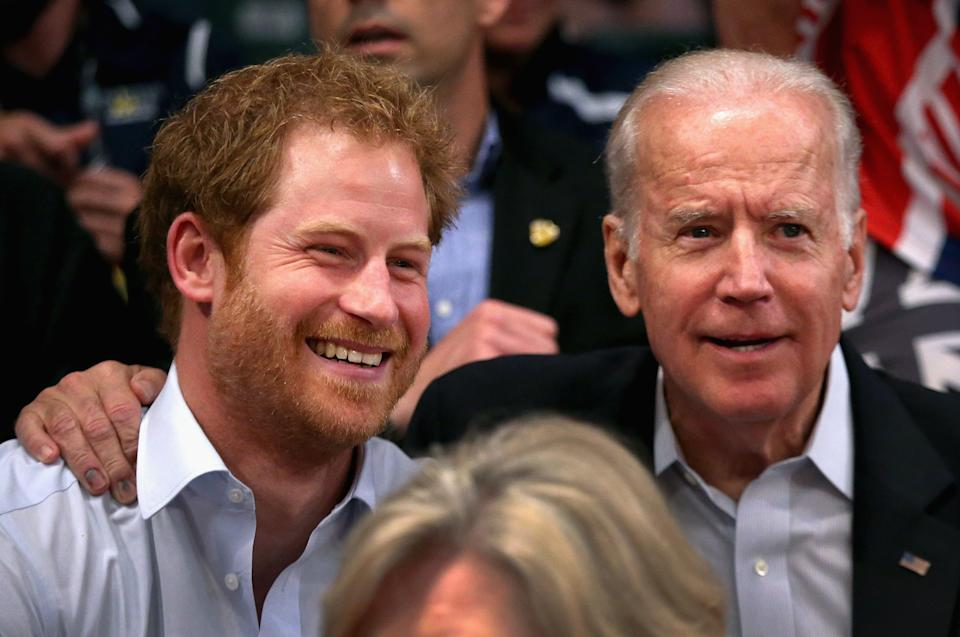 ORLANDO, FL - MAY 11:  Prince Harry and Vice President of the United States of America Joe Biden watch USA Vs Denmark in the wheelchair rugby match at the Invictus Games Orlando 2016 at ESPN Wide World of Sports on May 11, 2016 in Orlando, Florida. Prince Harry, patron of the  Invictus Games Foundation is in Orlando for the Invictus Games 2016. The Invictus Games is the only International sporting event for wounded, injured and sick servicemen and women. Started in 2014 by Prince Harry the Invictus Games uses the power of Sport to inspire recovery and support rehabilitation.  (Photo by Chris Jackson/Getty Images for Invictus Games)