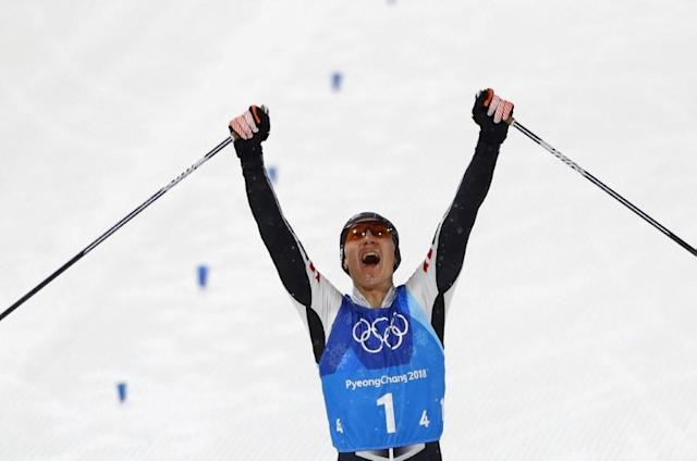 Nordic Combined Events - Pyeongchang 2018 Winter Olympics - Men's Team 4 x 5 km Final - Alpensia Cross-Country Skiing Centre - Pyeongchang, South Korea - February 22, 2018 - Mario Seidl of Austria celebrates. REUTERS/Dominic Ebenbichler