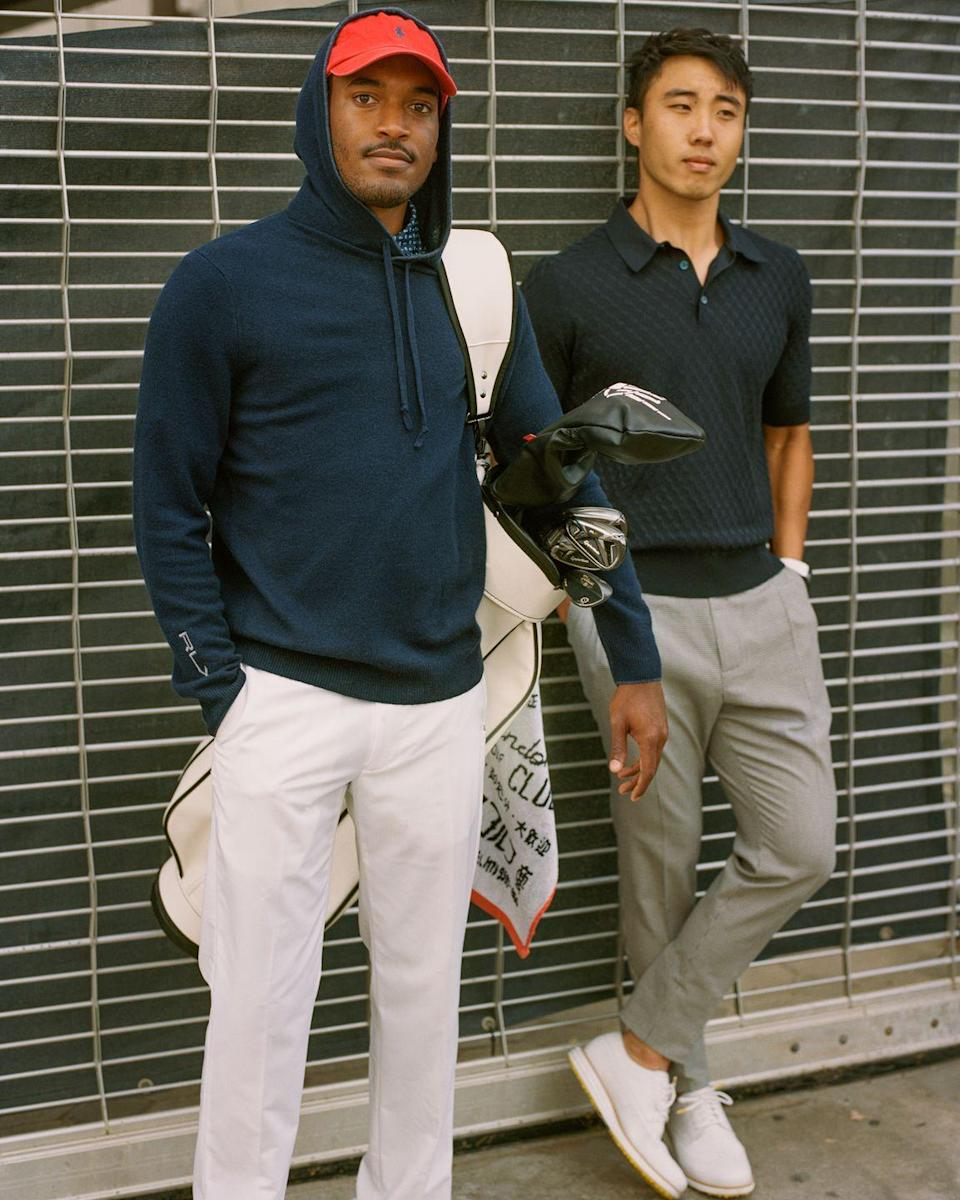 """<p>The golf hoodie? The golf hoodie. The sport's most divisive garment of 2020-21 is here to stay—especially when it's soft and streamlined. </p><p><em>On Johnson: Hoodie, Polo, and Trousers by Rlx Golf; Hat by Polo Ralph Lauren; Carry Bag by Jones X Random Golf Club.</em></p><p><a class=""""link rapid-noclick-resp"""" href=""""https://go.redirectingat.com?id=74968X1596630&url=https%3A%2F%2Fwww.ralphlauren.com%2Fsearch%3Flang%3Den_US%26q%3Drlx&sref=https%3A%2F%2Fwww.esquire.com%2Fstyle%2Fmens-fashion%2Fg37291403%2Fbest-golf-style-2021%2F"""" rel=""""nofollow noopener"""" target=""""_blank"""" data-ylk=""""slk:Shop RLX"""">Shop RLX</a></p><p><a class=""""link rapid-noclick-resp"""" href=""""https://go.redirectingat.com?id=74968X1596630&url=https%3A%2F%2Fwww.ralphlauren.com%2Fmen&sref=https%3A%2F%2Fwww.esquire.com%2Fstyle%2Fmens-fashion%2Fg37291403%2Fbest-golf-style-2021%2F"""" rel=""""nofollow noopener"""" target=""""_blank"""" data-ylk=""""slk:Shop Polo Ralph Lauren"""">Shop Polo Ralph Lauren</a></p><p><a class=""""link rapid-noclick-resp"""" href=""""https://www.jonessportsco.com/collections/stand-bags"""" rel=""""nofollow noopener"""" target=""""_blank"""" data-ylk=""""slk:Shop Jones"""">Shop Jones</a></p>"""