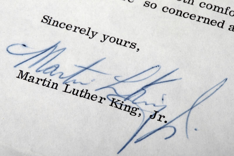 MLK thank-you letter to Philly officer for sale