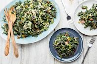 """<a href=""""https://www.epicurious.com/ingredients/all-kale-all-the-time-gallery?mbid=synd_yahoo_rss"""" rel=""""nofollow noopener"""" target=""""_blank"""" data-ylk=""""slk:Kale"""" class=""""link rapid-noclick-resp"""">Kale</a> salad is always pretty good, but the crispy, crunchy tempura kale in this version makes it truly special. <a href=""""https://www.epicurious.com/recipes/food/views/tempura-kale-salad-with-shiitake-mushrooms-raisins-and-almonds?mbid=synd_yahoo_rss"""" rel=""""nofollow noopener"""" target=""""_blank"""" data-ylk=""""slk:See recipe."""" class=""""link rapid-noclick-resp"""">See recipe.</a>"""
