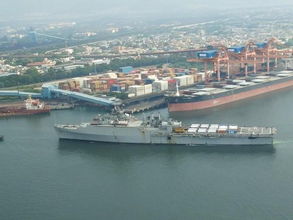 Jalashwa arrived with critical COVID relief consignment in Visakhapatnam on Sunday.