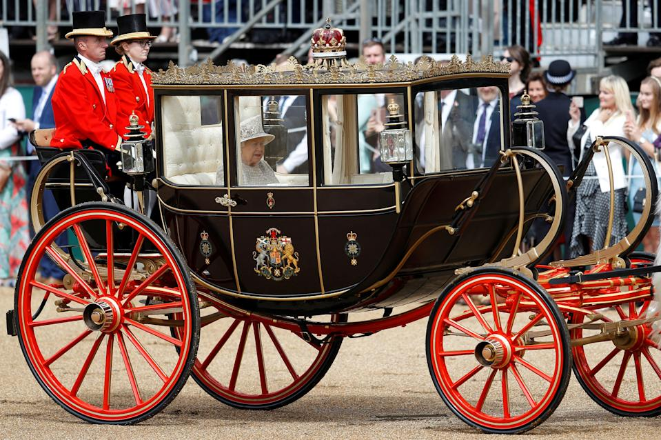 Britain's Queen Elizabeth takes part in the Trooping the Colour parade in central London, Britain June 8, 2019. REUTERS/Peter Nicholls