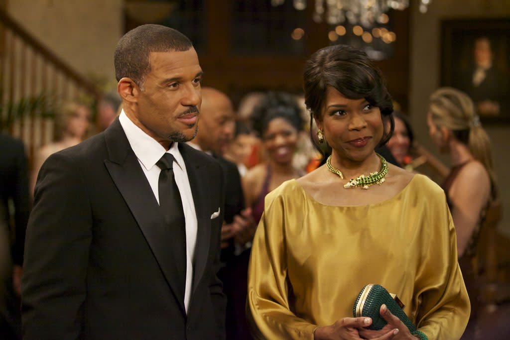"Peter Parros as David Harrington and Angela Robinson as Veronica Harrington in ""The Haves and the Have Nots"" episode, ""The Big Surprise."""