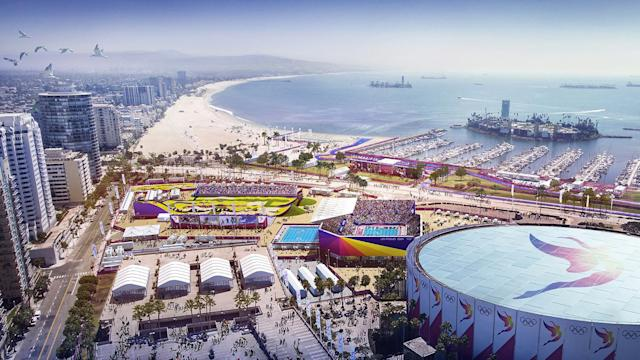 <p>BMX and Water Polo are shown in this Long Beach Waterfront rendering. (Photo: Courtesy LA 2024) </p>
