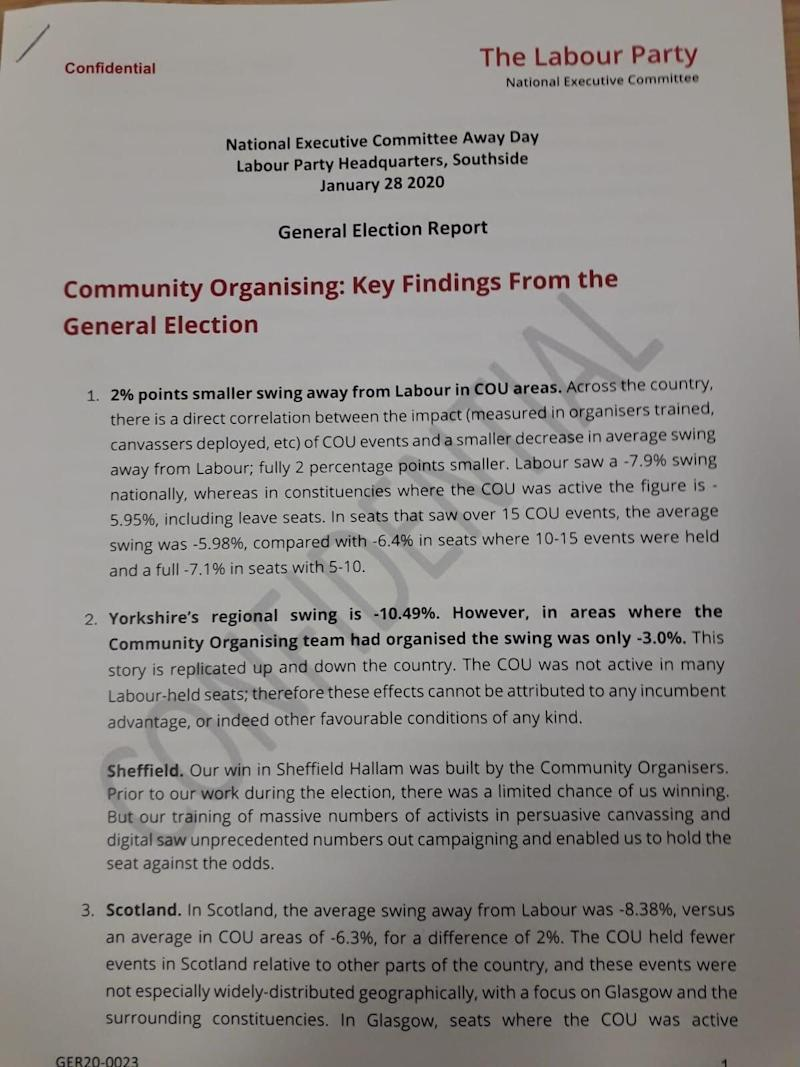 The leaked report presented to Labour's NEC (Photo: HuffPost UK)