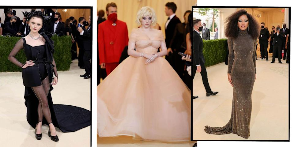 """<p>With this year's <a href=""""https://www.elle.com/uk/fashion/a39815/met-gala-everything-you-need-to-know/"""" rel=""""nofollow noopener"""" target=""""_blank"""" data-ylk=""""slk:Met Gala"""" class=""""link rapid-noclick-resp"""">Met Gala</a> theme titled 'In America: A Lexicon of Fashion', you could be sure our favourite A-list celebrities – including the likes of Billie Eilish, Eva Chen and Nicola Peltz – wouldn't disappoint when it came to donning their daring, embellished, and no doubt patriotic, looks on the red carpet. </p><p>From Timothée Chalamet to Maisie Williams, we take a look at the most jaw-dropping celebrity dresses, gowns and suits from the year's most talked about fashion moment...</p>"""