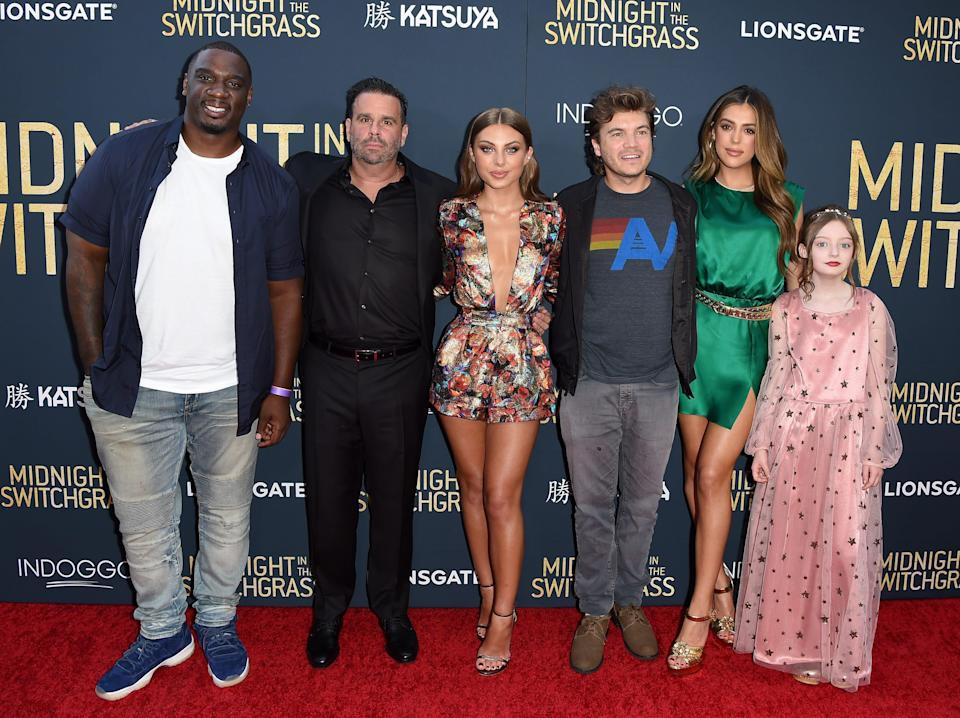 """(L-R) Donovan Carter, Randall Emmett, Caitlin Carmichael, Emile Hirsch, Sistine Stallone and Olive Abercrombie attend the Los Angeles Special Screening of Lionsgate's """"Midnight In The Switchgrass"""
