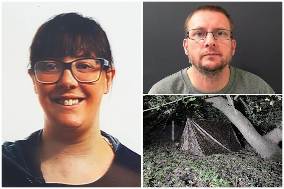 Andrew Pearson, top right, ambushed Natalie Harker, left, in the woods after camping in a camouflaged tent. (North Yorkshire Police)