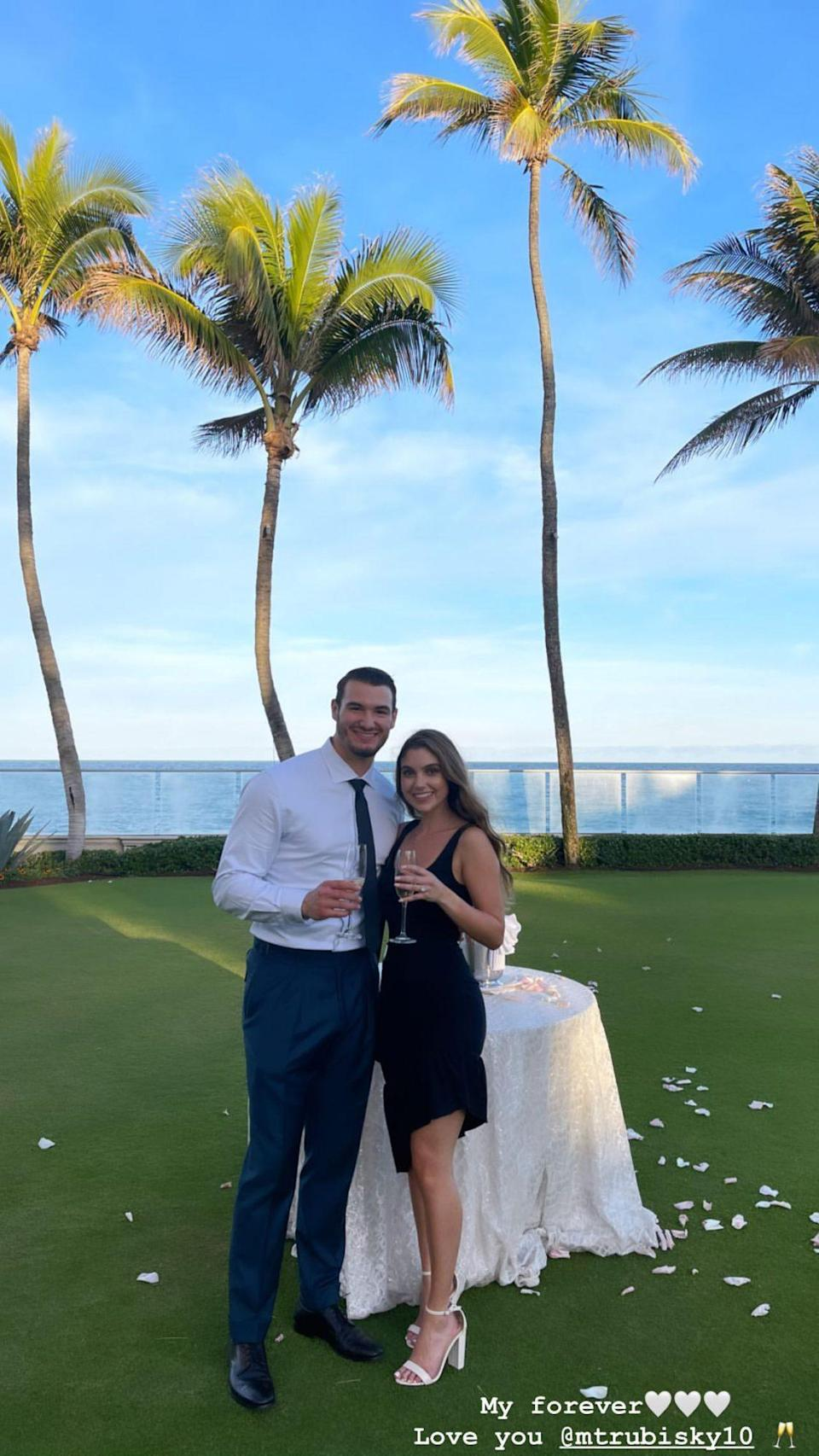 "<p>The Chicago Bears quarterback <a href=""https://people.com/sports/chicago-bears-mitch-trubisky-engaged-girlfriend/"" rel=""nofollow noopener"" target=""_blank"" data-ylk=""slk:popped the question"" class=""link rapid-noclick-resp"">popped the question</a> to girlfriend Gallagher, the private Pilates instructor revealed on <a href=""https://www.instagram.com/p/CKh5HvTrJIp/"" rel=""nofollow noopener"" target=""_blank"" data-ylk=""slk:Instagram"" class=""link rapid-noclick-resp"">Instagram</a> on Jan. 26.</p> <p>Gallagher, who also works in marketing, announced the exciting news with a series of photos and videos from the big day, along with a close-up shot of her glistening diamond ring.</p> <p>The athlete popped the question at The Breakers in Palm Beach, a luxury resort in Florida.</p> <p>""Fiancé 💍 Can't wait to spend forever with my soulmate,"" Gallagher captioned her post.</p>"