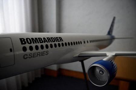 FILE PHOTO: A model of Bombardier C Series aeroplane is seen in the Bombardier offices in Belfast